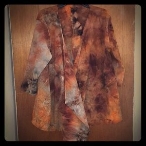 Open front tie dye Brown jacket soft size L
